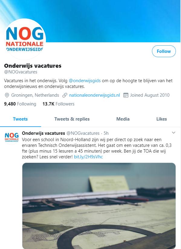 Twitter Nationale Onderwijsgids vacatures
